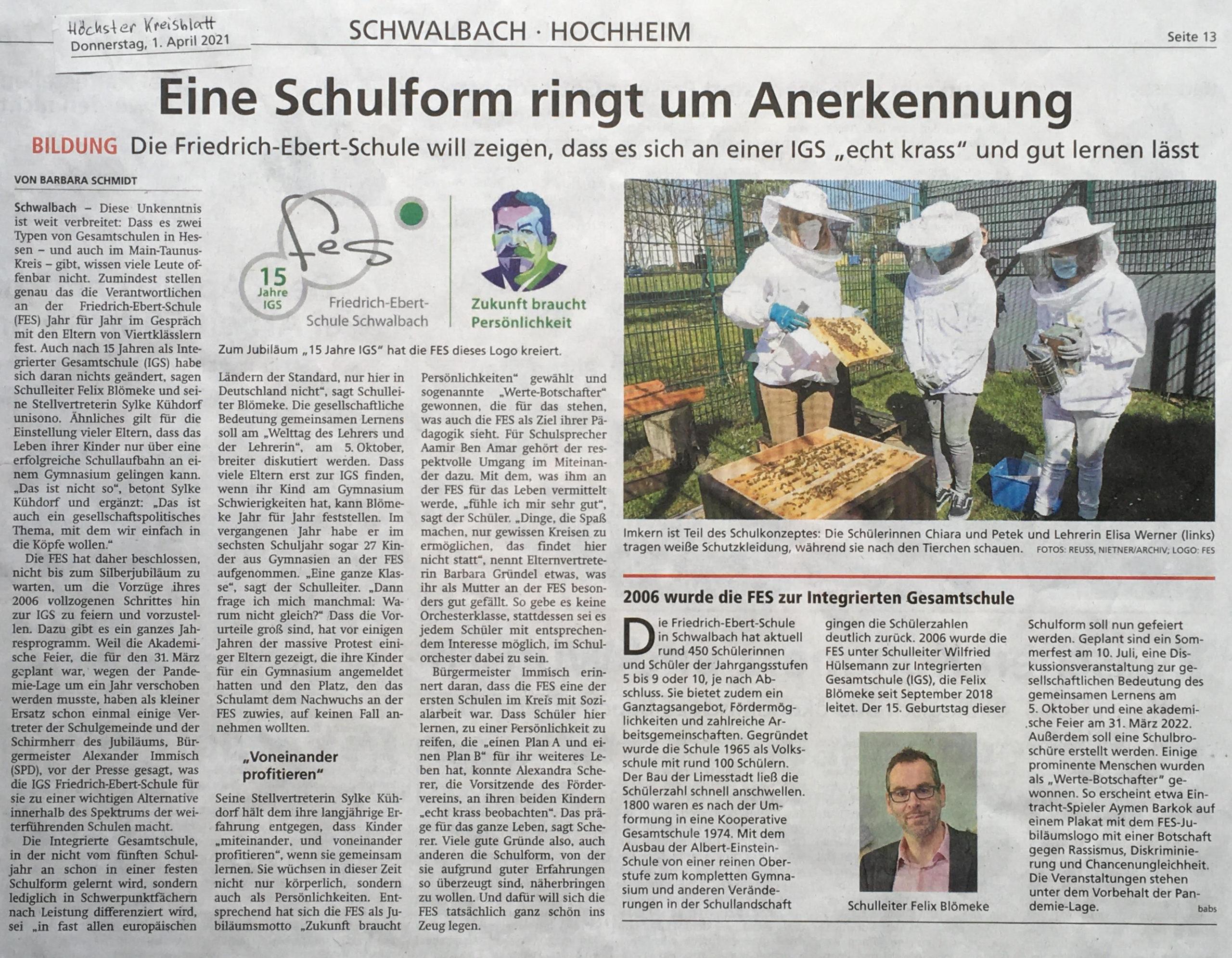 Zeitungsartikel des Höchster Kreisblattes vom 01. April 2021